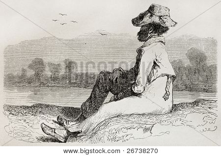 Old illustration of man watching landscape. Created by Riou, published on Le Tour du Monde, Paris, 1864