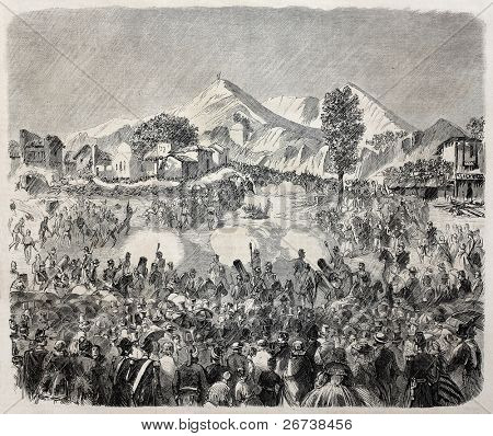 Old illustration of military pantomime in Champ de Mars celebrating Mary Assumption feast on 15 august. Created by Godefroy-Durand, published on L'Illustration Journal Universel, Paris, 1857