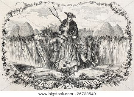 Old illustration of reaping wheat. Created by Mattais, published on L'Illustration Journal Universel, Paris, 1857