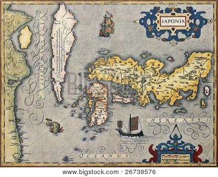 Old map of Japan. From Gerand and Rumold Mercator Atlas. Created by Joducus Hondius. Published in Amsterdam, 1620
