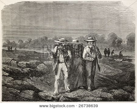 Old illustration of three men walking near the bank of a river. Created by Riou, published on Le Tour du Monde, Paris, 1864