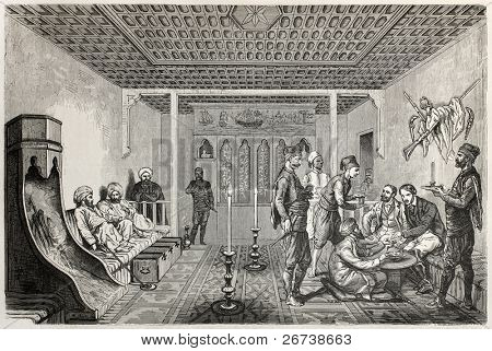 Old illustration of konak interior in Aksaray, Turkie. Created by Castelli, published on Le Tour du Monde, Paris, 1864
