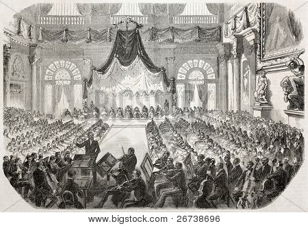 Concert offered to the Pope Pio IX in Palazzo Vecchio (Old Palace), Florence. Created by Worms after sketch of Levasseur, published on L'Illustration Journal Universel, Paris, 1857