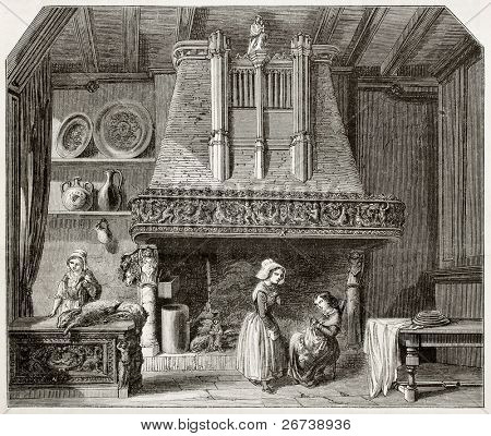 Antiga ilustração de uma antiga chaminé no hotel Grand Cerf, Andelys, França. Criado por Lancelot (