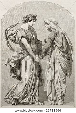 Love can not age: old allegoric illustration. Created by Gerome, Published on Magasin Pittoresque, Paris, 1850.