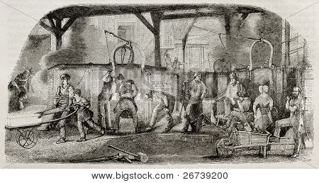 Old illustration of iron production: foundry in La Houilles, France. By unidentified author, published on Magasin Pittoresque, Paris, 1850.