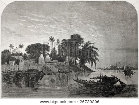 Old illustration of Hoogly river near Calcutta. Created by Anastasi after Berard, published on L'Illustration Journal Universel, Paris, 1857