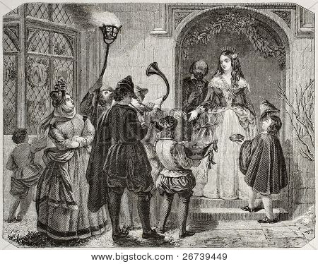 Old illustration of Christmas Queen, traditional English custom.  By unidentified author, published on Magasin Pittoresque, Paris, 1850