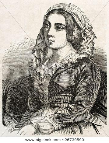 alte eingraviert Porträt des griechischen Frau in Konstantinopel. erstellt von Marc, veröffentlicht am l ' Illustration