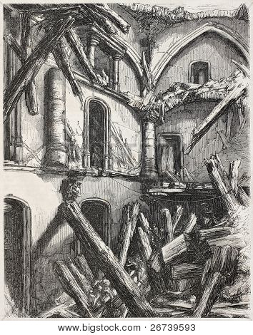 Old illustration of Vincennes castle tower collapse. By unidentified author, published on L'Illustration Journal Universel, Paris, 1857