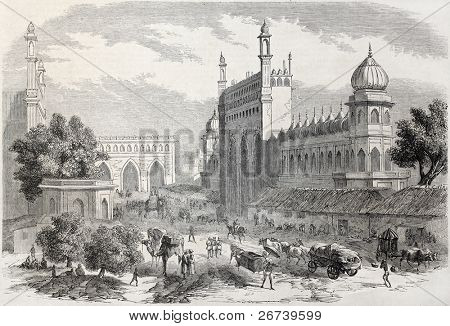 Old illustration of main street in Lucknow, India. Created by Freeman and Godefroy-Durand after De Lagrange, published on L'Illustration Journal Universel, Paris, 1857