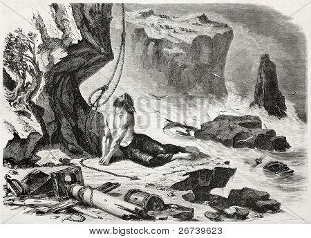 Old illustration depicting James Johnson, the only survivor of Dunbar shipwreck near the entrance of Sidney harbour.  Created by De Berard, published on L'Illustration Journal Universel, Paris, 1857