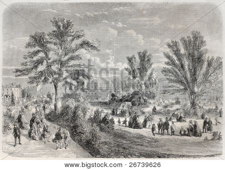 Old illustration of Square du Temple (Temple garden) in Paris. Created by Provost, published on L'Illustration Journal Universel, Paris, 1857