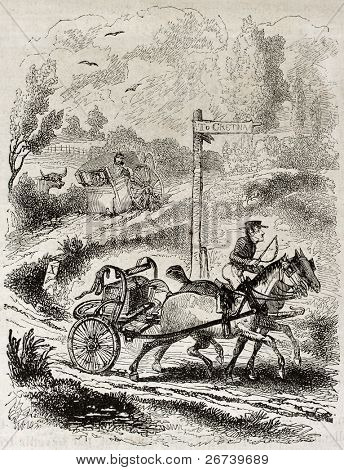 Old humorous illustration of runaway wedding towards southern Scotland. By unidentified author, published on Magasin Pittoresque, Paris, 1850