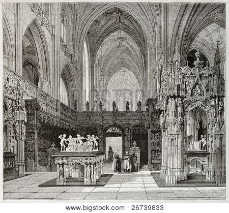 Old illustration of Brou monastery church interior, France. Created by Matthieu, published on Magasin Pittoresque, Paris, 1850