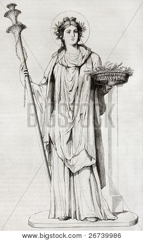 Ceres, the Roman goddess of agriculture. After painting found in Pompeii, reproduced on table XXXV, vol. IX of Royal Bourbon Museum, Naples, Italy. Published on Magasin Pittoresque, Paris, 1850