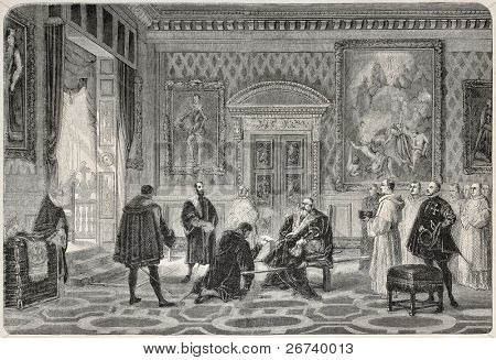 Old illustration depicting Charles V in Saint-Just monastery. Created by Fleury, published on L'Illustration, Journal Universel, Paris, 1857