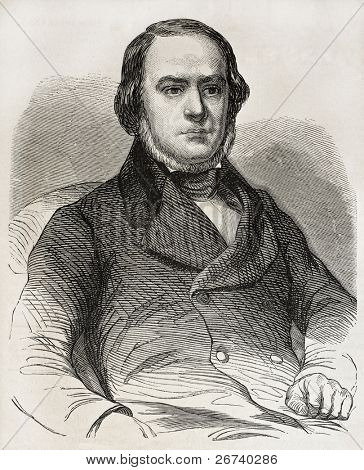 Old engraved portrait of Daniele Manin, Italian statesman from Venice. Hero of Italian unification movement. Created by Marc, published on L'Illustration, Journal Universel, Paris, 1857