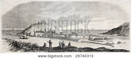 Old view of Saint Sebastien, in the bay of La Concha, Spain. By unidentified author, published on L'Illustration, Journal Universel, Paris, 1857