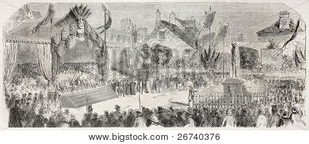 Old illustration of the inauguration in Etampes, of Etienne Geoffroy Saint-Hilaire statue, French naturalist. Created by Godefroy-Durand, published on L'Illustration, Journal Universel, Paris, 1857