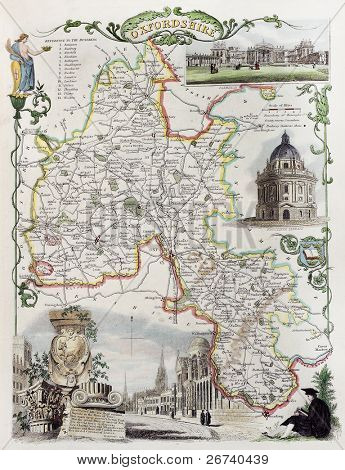 Old Oxfordshire map. Created by Thomas Moule, published in English Counties Delineated, London 1837