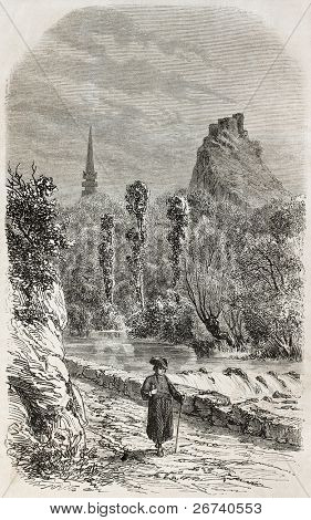 Old illustration of Elorn river and La Roche Maurice in background, Brittany, France. By unidentified author, published on L'Illustration, Journal Universel, Paris, 1857