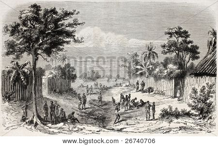 Old view of an African village on the coast. Created by Worms, published on L'Illustration Journal Universel, Paris, 1857