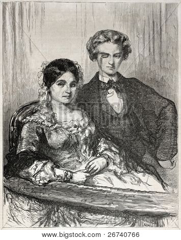 Old illustration of a couple watching a theatrical drama. Created by Gavarni, published  on L'Illustration Journal Universel, Paris, 1857
