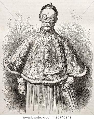 Viejo Retrato de un comerciante chino. Creado por Dore después Trevise, publicado en Le Tour du Monde, Pa