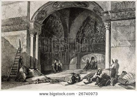 alte Illustration der Zisa Castle Vorraum, Palermo, Italien. erstellt von Leitch und Tingle, veröffentlichte o