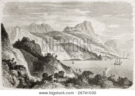 Old view of Saint Ann bay, Jamaica. Created by Berard, published on Le Tour du Monde, Paris, 1860