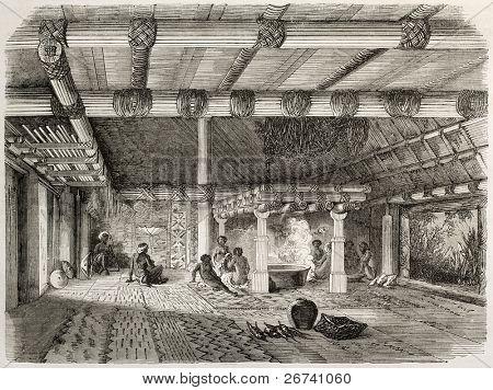 Antiga ilustração de uma Mbure-ni-sa (casa de estrangeiros) nas Ilhas Fiji. Criado por Lancelot depois W