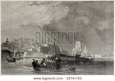 Old view of Valletta, capital of Malta, from the quarantine harbour. Created by Allen, Engimeer and Wallis, published on Il Mediterraneo Illustrato, Spirito Battelli ed., Florence, Italy, 1841