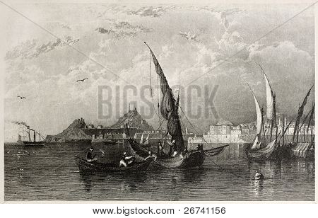 Old view of Corfu island, Ionian sea. Created by Allom and Floyd, published on Il Mediterraneo Illustrato, Spirito Battelli ed., Florence, Italy, 1841