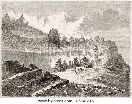 Antiga visão de rock Moro, Sequoia National Park, Califórnia. Criado por Lancelot após relatório feito u