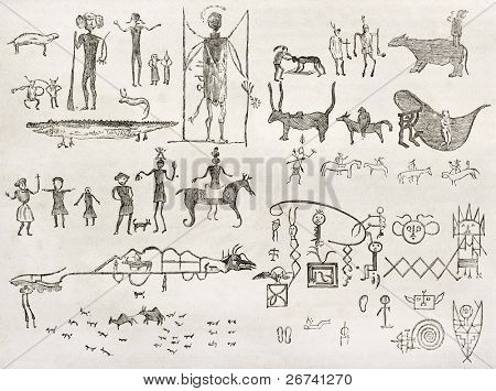 Hieroglyphics found in a cave near Fossil Creek, Arizona. By Lancelot and Gauchard after report made under the direction of the U.S. secretary of the war. Published on Le Tour du Monde, Paris, 1860