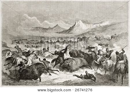 Old illustration of native Americans hunting buffalo. Created by Dore after Caitlin, published on Le Tour du Monde, Paris, 1860
