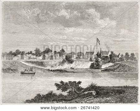 Antiga visão de Smith por diante e Rio Arkansas, Arkansas. Criado por Lancelot após relatório feito sob th