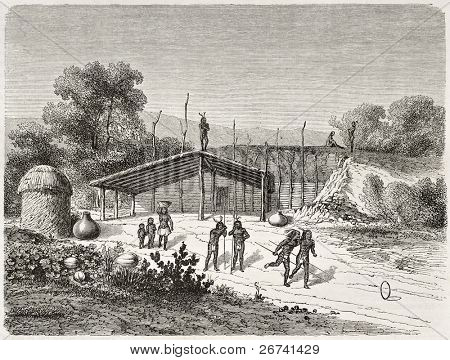 Antiga ilustração do Mohave nativos americanos jogando jogo de anel. Criado por Lancelot após Mollhausen,