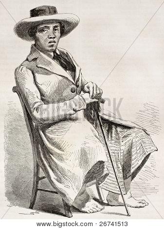 Tahitian man old engraved portrait. Created by Giraud, published on Le Tour du Monde, Paris, 1860