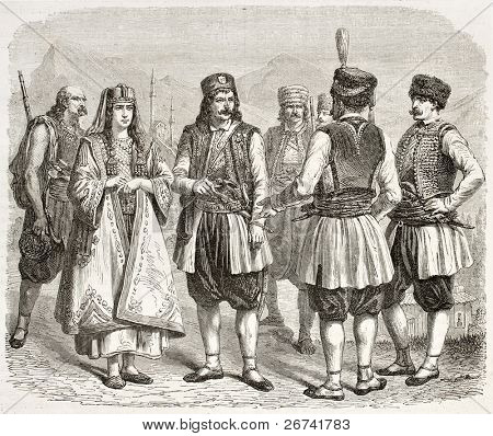 Montenegrin costumes old illustration. Created by Marc and Maurand, published on Le Tour du Monde, Paris, 1860