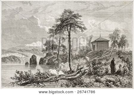 Tungusic temple old illustration. Created by Sabatier after Atkinson, published on Le Tour du Monde, Paris, 1860