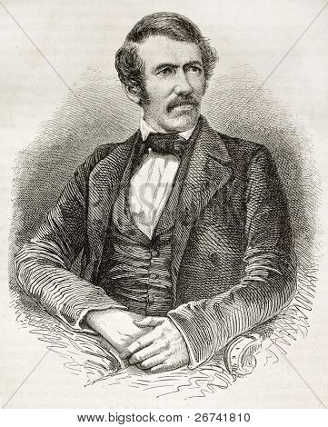 David Livingston old engraved portrait. Created by Fath, Pannemaker and Ligny, published on Le Tour du Monde, Paris, 1860