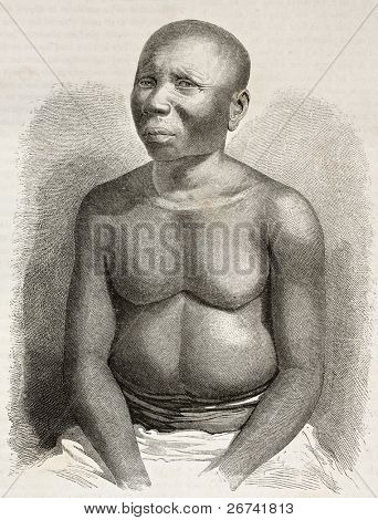 Jarawa man old engraved portrait, Andaman islands, Indian ocean. Created by Fath and Huyot after photo of Malitte, published on Le Tour du Monde, Paris, 1860