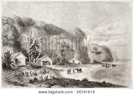 Rio Saigon boca velha ilustração. Criado por Lancelot e Huyot, publicado em Le Tour du Monde, P