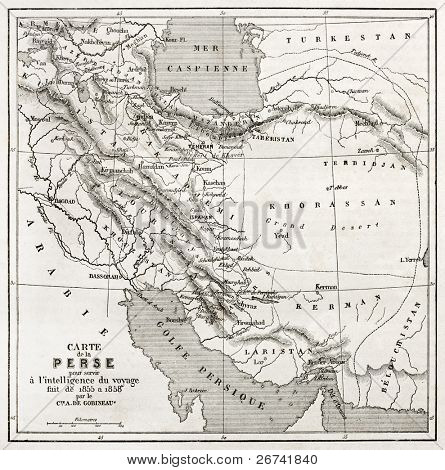 Persia old map. Created by Vuillemin, published on Le Tour du Monde, Paris, 1860
