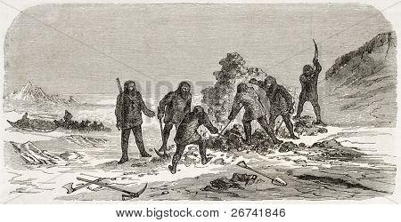 Homens ilustração antiga de escavação. Criado por Lancelot e Trichon, publicado em Le Tour du Monde, Par