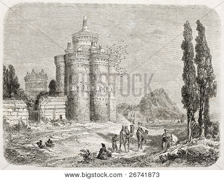 Dovecote old illustration, Isfahan surroundings, Iran. Created by Laurens, published on Le Tour du Monde, Paris, 1860