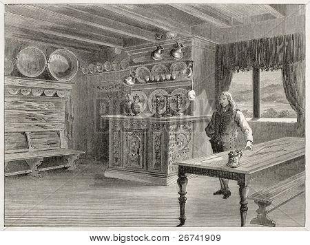Inn interior antiga ilustração, Bolkesjo, Telemark, Norway. Criado por Lancelot, publicado em Le Tour