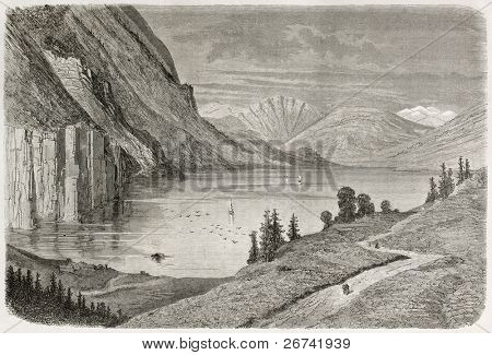 Flatdal lake old illustration, Telmark, Norway. Created by Dore after Riant, published on Le Tour du Monde, Paris, 1860